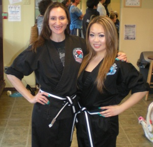 With training partner Jennifer on the day we received our Apprentice Belts.